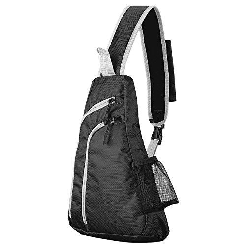 Imagen de blosa de hombro deportivo para ciclismo de omorc, bolsa bolso pecho impermeable ligera con gran capacidad,  de hombro perfecto para deportes al aire libre gimnasio ciclismo senderismo escuela negro