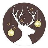 Weihnachtsaufkleber Weihnachtssticker Geschmücktes Rentier rund Ø 30 mm, 100 Stück auf Rolle, Haftpapier glänzend
