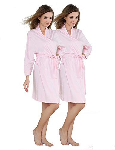 Godsen Damen Comfort Baumwolle Bademantel Kurze Bademäntel Nachtwäsche - Pink - Large (Bleach-profile)