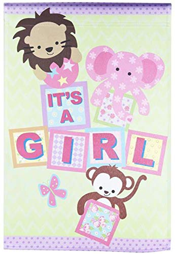 CHKWYN It's A Girl Building Blocks and Baby Animals Graphic Flag for Party Outdoor Home Decor Size: 12.5-inches W X 18-inches H Christmas Plate Block