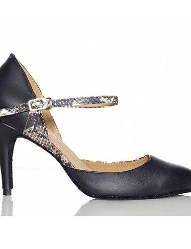 ShangYi Chaussures de danse (Noir) - Non personnalisable - Talon bas - Flocage - Moderne