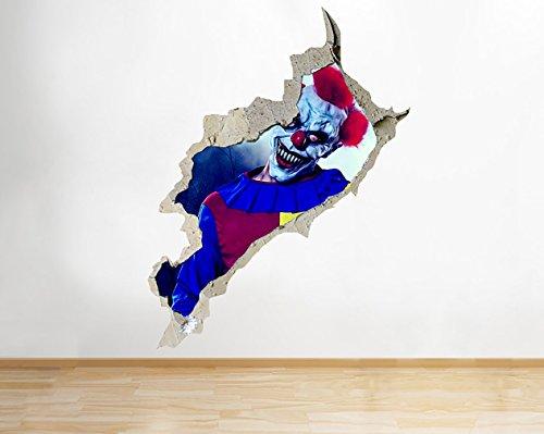 tekkdesigns R666Killer Clown Scary Kostüm Horror Wand Aufkleber 3D Kunst Aufkleber Vinyl Raum