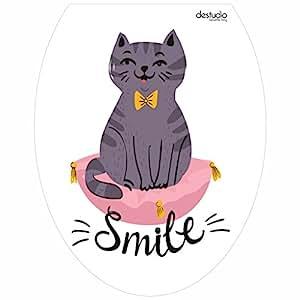 DeStudio 'Grey Cat Smile' Decorative Toilet Lid Decal (PVC Vinyl Film, 30 cm x 38 cm x 0.01)