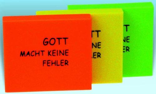 °°2034 Radiergummi GELB 'Neon', 'Gott macht keine Fehler', 4,5 x 3,5 cm