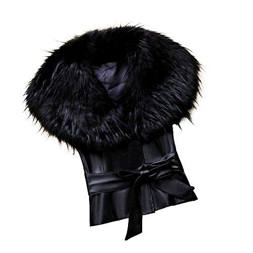WINWINTOM Oversize Jacke Windbreaker Mantel Frühling Herbst Winter Stilvoll Bequem Outwear, Frauen Bow Coat Jacket Leder Kunstpelz Weste Weste Gilet Outwear Cardigan