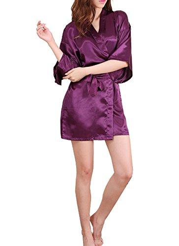 DELEY Donne Kimono Morbidissimo Raso Seta Sexy Colore Puro Accappatoi Vestaglia Pigiameria Vestito Corto Pigiama Abito Scuro Viola