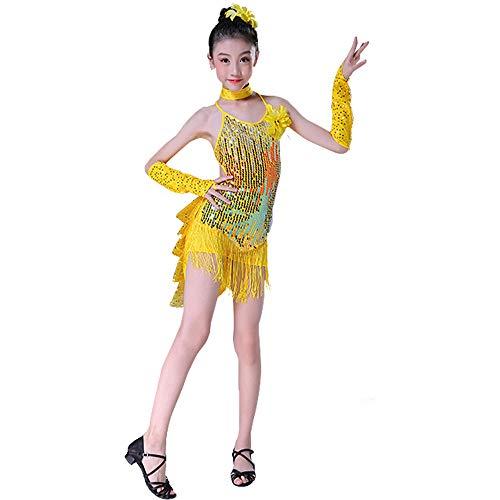 Zeitgenössisches Ballett Kostüm - KINLOU Mädchen Kinder Latin Dance Kostüm - Elegante Pailletten Fringe Lyrical Kleid Zeitgenössisches Ballett Modern Latin Dance Kostüm, Gelb/160