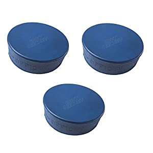 3X Eishockey Puck junior blau 4OZ, blau für Kinder