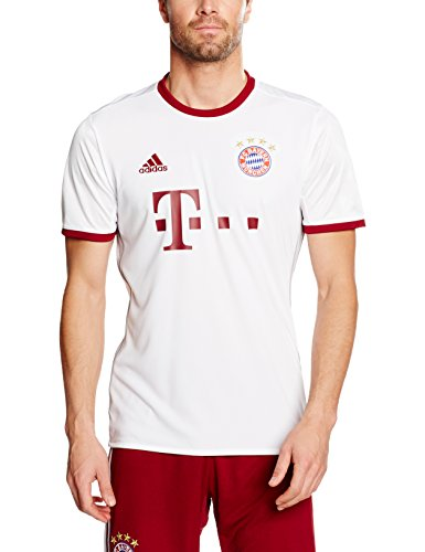 adidas Herren FC Bayern München Replica UCL Trikot, White/Light Onix/Collegiate Burgundy, L