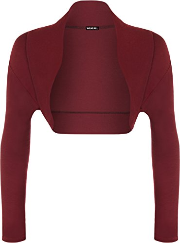WearAll - Damen Bolero langarm Top - Pflaume - 36-38 (Pflaume Top T-shirt)