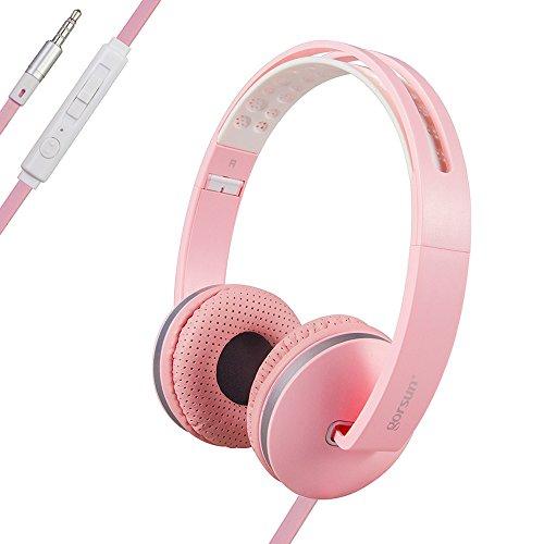 Onta® gorsun extra bass cuffie musica leggere pieghevoli cuffie conmicrofono e controllo volume stereo musica cuffie per cellulare,smartphone,iphone e mp3- rosa