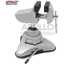 Apollo:Mandíbula con mini tornillo con cabezal giratorio y mecanismo de montaje potente con ventosa, para manualidades, modelo de edificio, escultura, electrónica, pasatiempos y trabajos de joyería, funciona con un mini banco