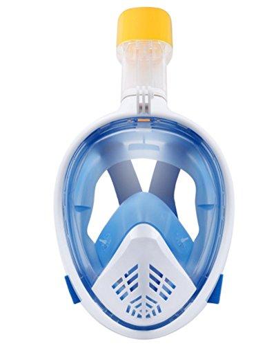 Mzj Schnorchelmaske, Komplett Trocken, Anti-Beschlag, Wasserdicht, 180 ° Ohne Sackgassen, Erwachsene Kinder, S/L, Silikon Taucherbrille,Blue