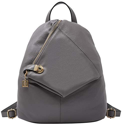 Rucksack aus echtem Leder für Damen Shoulder Fashion Bag Satchel Tagesrucksack, Grau, Medium -