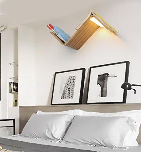 Holz-loft-betten (Seeksung Led-Wandleuchte, Nachttischlampe, Bücherregal, Beleuchtung, Nordic Zeitgenössische Holz Leselicht 15W , B)