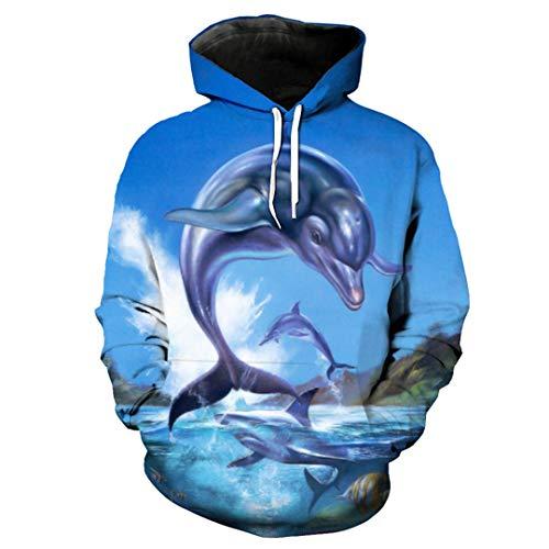 Shark Dolphin Fashion Mens Hoodie Blauer Pullover EUR GRÖSSE YU2069 ()