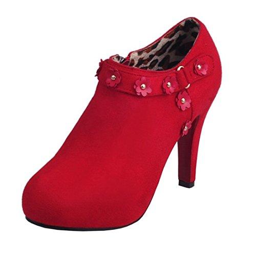 Agodor Damen Elegant High Heels knöchelriemen Ankle Boots Plateau Stiefeletten Pumps mit Blumen 20cm Absatz Schuhe