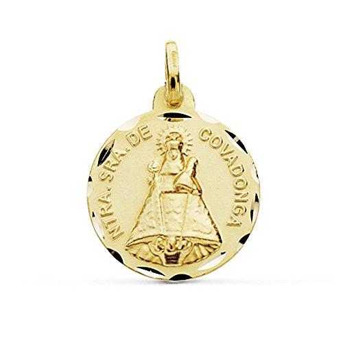 Medalla Oro 18K Virgen De Covadonga 18mm. Cerco Tallado [Ab9044Gr] - Personalizable - Grabación Incluida En El Precio