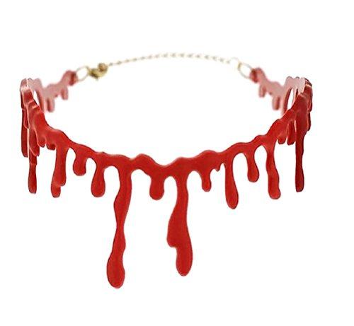 Blut Halskette, Blutstropfen Kette, rot Blutige Kette Horror Halsband Halloween Accessoire Kostüm Schmuck (Halloween Schmuck)