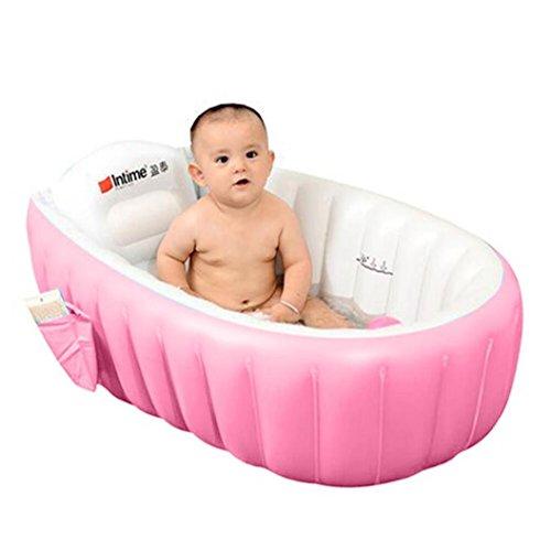 ALIKEEY  Bain gonflable de Bath d'isolation de baignoire de Bath de bébé d'environnement Baignoire Gonflable, Piscine Gonflable, Bassine pour Enfant et Bébé Baignoire gonflable pour bébé, portable, pratique pour les voyages, sans phtalate (Rose)