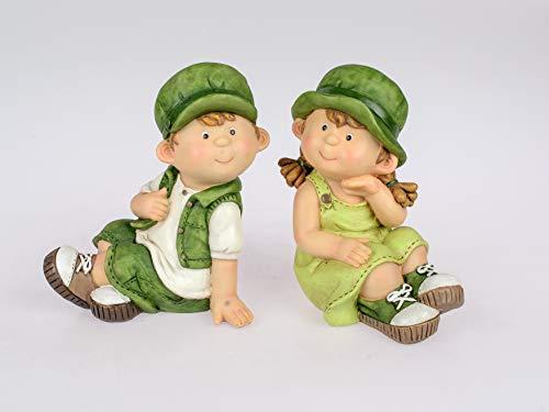 Formano Set di 2 Statuette da Giardino per Bambini Estivi Franz e Greta