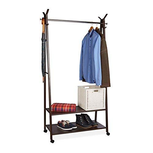 Relaxdays Kleiderständer Metall auf Rollen, 2 Schuhablagen, 16 Schuhe, Kleiderstange, HxBxT: 180 x 102 x 44 cm, braun