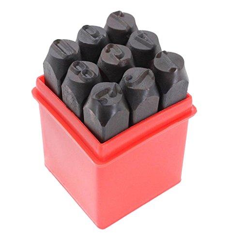 MagiDeal 9tlg. Nummern Punch Tool Set, Kohlenstoffstahl Pin Punch Set Metall Stempel Handwerk Tool Kit