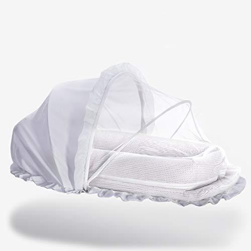 Réducteur de Lit Babynest Chaise Longue pour bébé avec auvent et Salle de Sport, Berceau Portable pour garçons Filles, Nid pour Dormir, Blanc, 115 × 52 cm (Couleur : A)