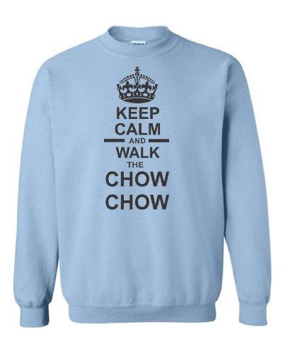 "Keep Calm ""Walk & Chow Chow Felpa Unisex azzurro XXL"
