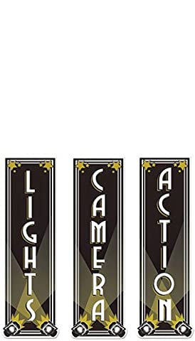 Beistle 54328 3-Pack Lights, Camera, Action Cutouts, 5.5 x