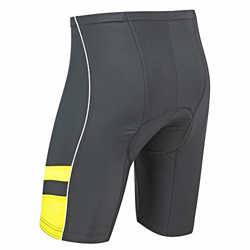 """Image of Tenn-Outdoors Men's 8 Panel Professional Moulded Pad Cycling Shorts - Black / Yellow, Waist 40-42"""" - 3XL"""
