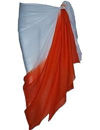 White and Orange Two Tone Sarong