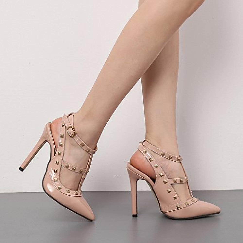 Donyyyy Sandalias de tacón delgado con zapatos de tacón,color albaricoque,39 -
