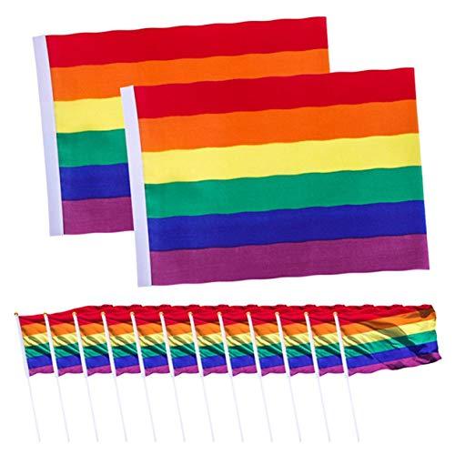 FUdeza Pragmatic 2er-Pack Gay Pride Flagge Regenbogenflagge in leuchtenden Farben, UV-beständig, Segeltuch mit 12 Stangen Stolz Festival Karneval Flagge für Zuhause Dekoration -