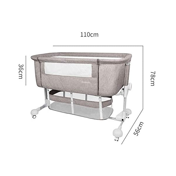 LYYJIAJU Baby Crib Portable Bassinet Bed Infant Kids Travel Playpen Multifunction Height Adjustable Pack Deluxe Beds Pocket Changer Cribs Bag & Caster LYYJIAJU Material: Aluminum alloy tube + cotton and linen (sturdy, environmentally friendly, no odor, no formaldehyde, no toxicity); applicable age: newborn - 2 years old Features: with mosquito net; large-capacity storage bag; foldable, free installation, easy to carry; universal wheel, with brake, silent; breathable mesh bed; seamless splicing bed size (length x width x height): 110X56X78CM; inner diameter: 100x50cm; height adjustable: 6 files (32-67cm) 5
