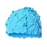 Frauen Schwimmkappe Vintage Stil 3D Badekappe mit Floral Blütenblatt Stilvolle für Langes Haare Damen Badekappe Wasserdichte Bade Hut Badebekleidung By Alxcio - Blau