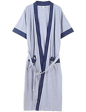 SUxian Gran Rayas de Verano de los Hombres Impresas Albornoz de Manga Corta de algodón Albornoz camisón Pijama