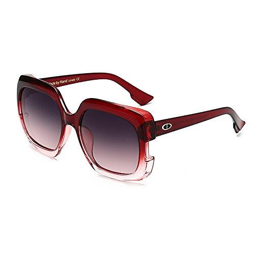 Yiph-Sunglass Sonnenbrillen Mode Damensonnenbrillen Stilvolle Große für Frauen Quadrat Farbverlauf Rahmen Sonnenbrillen UV-Schutz Umrandete Klassische Dame für das Fahren von Reisen (Farbe : Rot)