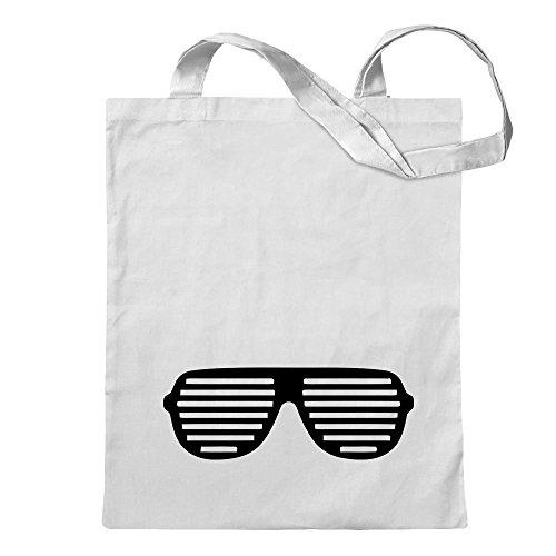 KIWISTAR - Raver Shutter Brille Jutebeutel in 12 verschiedenen Farben - Tragetasche bedruckt Design Sprüche Spruch Motive Baumwolltasche Print Stoffbeutel Umhängetasche langer Henkel