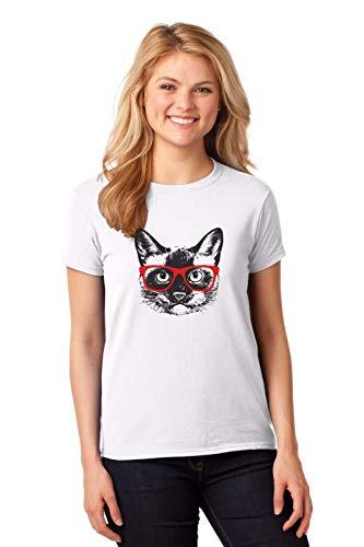 TYML T-Shirt Mens Neue Druck Herren T Shirt Sommer Siamesische Katze Mit Rote Brille Individuelle T Shirts
