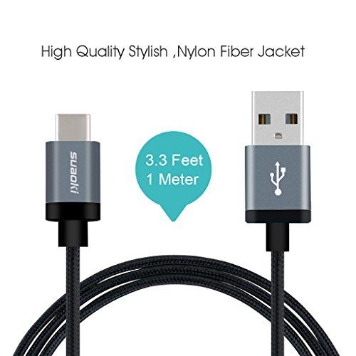 Suaoki Câble Type-C (USB C) Nylon Tressé Câble avec Connecteur Reversible pour Nouveau Macbook12 inch ChromeBook Pixel, Nokia N1 Tablette, OnePlus 2, Asus Zen AiO et D'autre Dispositif avec USB Type C (1M)