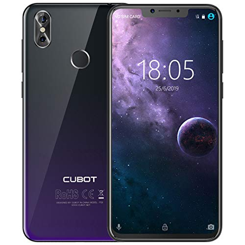 Cubot P20 4G-LTE Dual SIM Smartphone ohne Vertrag 6.18″(19:9) In-Cell Screen FHD Display (2246×1080px) mit 4000 mAh Akku, 4GB Ram+64GB Android 8.0 Handy (Twilight)