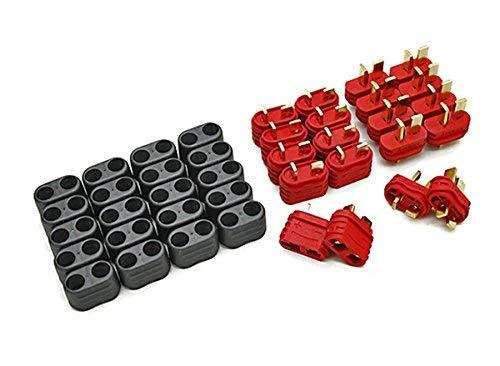20 Stück (10 Paar) Nylon T Dean Hochstrom T-Stecker - T-Plug Connector - DEANS mit Isolierhülle - Momentan die besten T Stecker auf dem Markt von Modellbau Eibl