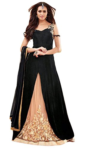 Clickedia Women\'s Heavy Georgette Embroidered work Semi-stitched Black Salwar Suit - Dress Material