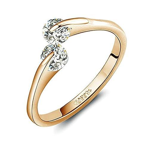 Yoursfs Bague de fiançailles infinie 18k plaqué Or Solitaire en Diamant de synthèse t54 pour Hommes ou Garçons comme Accessoire ou Cadeau