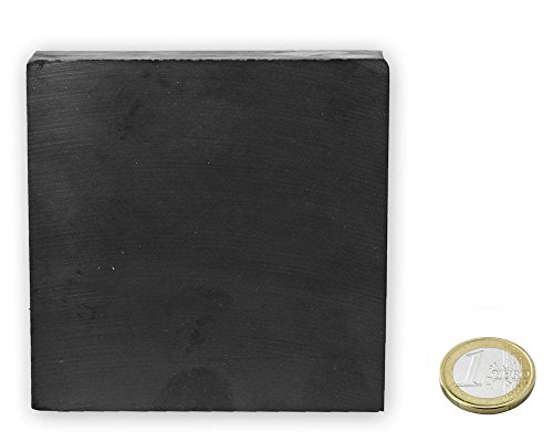 Quadermagnet 100 x 100 x 25mm Ferrit Y35 - hält 9,5 kg Keramik-Magnet - Keramik-9.5