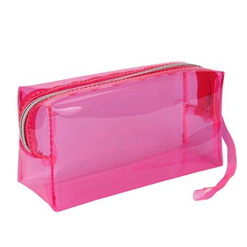 Kingko® Einfacher Reißverschluss-Schliessen-Bleistift-Kasten-transparente Süßigkeit-Farben-Schule-Bleistiftbeutel (Hot Pink) (Womens Box Schule)