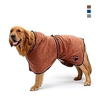 Dog Bathrobe Towel with Adjustable Strap, Microfibre Fast Drying Super Absorbent Pet Cat Towel, Moisture Absorbing Bath Robe, Quick Drying Pet Bath Towel
