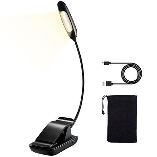 LED Buchlampe,TOPELEK 7 LEDs Leselampe Klemmleuchten mit 9 Modi, einstellbar Farbtemperatur Helligkeitsstufe,USB wiederaufladbar Leselampe,Schreibtischleuchte, Notenständer lampe, Augenschutz Helligkeit, Beleuchten mit LED-Betriebsanzeige, USB-Ladekabel und Aufbewahrungstasche für Kindle, Buch, Computer.