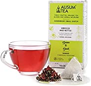 Ausum Tea Organic Hibiscus and Nettle (15 Teabags) - Herbal Tea, Flower Tea